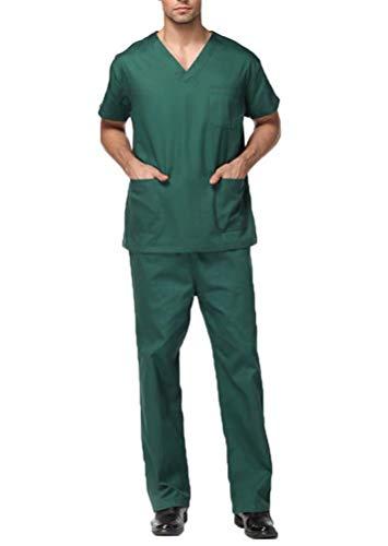 Miaouyo Ensemble Vêtement Medical Femme/Homme Uniformes Coton Unisexe Blouse à Manches Courtes+ Pantalon Médical avec Poches(Homme Vert M)