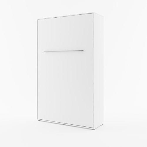 Schrankbett Concept PRO Horizontal, Wandklappbett, Bettschrank, Wandbett, Schrank mit integriertem Klappbett, Funktionsbett (140 x 200 cm, Weiß, Vertikal)
