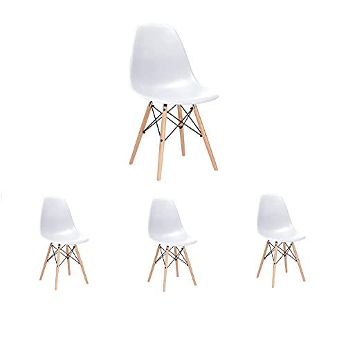 4 x Silla de Sala de Estar Silla de Comedor Silla de Oficina con Patas de Haya de Madera Maciza Silla Moderna sillas de plástico de Estilo Retro sillas Laterales para Cocina Sala de Estar Blanco