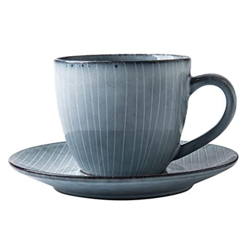 Latte Art Cup - Taza de café apilable simple y platillos combinados 7 oz/200 ml, tazas de té retro de la tarde de leche para oficina y hogar, cafetera azul