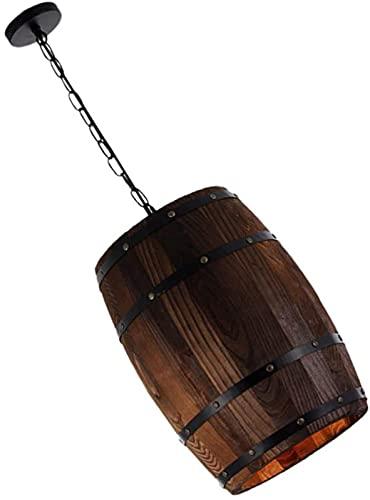 GDEVNSL Lámpara de Techo de Madera, Barril de Vino, lámpara Colgante, Retro, Vintage, rústico, luz de Techo para decoración de Barra de habitación