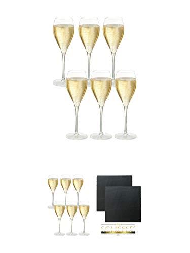 Taittinger Champagner Gläser 6er Pack + Taittinger Champagner Gläser 6er Pack + Schiefer Glasuntersetzer eckig ca. 9,5 cm Ø 2 Stück