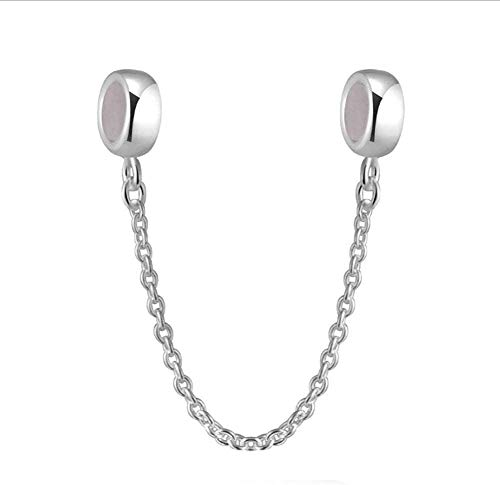 Rose Gold Plated safety chain Stopper Beads Silicone Positioning Charm fit (Silver Safety chain)