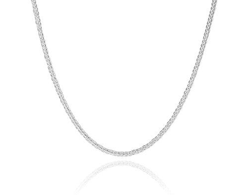 COZMOS Feine Silberkette Zopfkette Seilkette Halskette Bindeglied Kette Collier Armband Fußkette 925 Silber Sterling 2mm - 15, 20, 25, 30, 35, 40, 45, 50, 55, 60, 65, 70, 75, 80, 85, 90, 95, 100cm