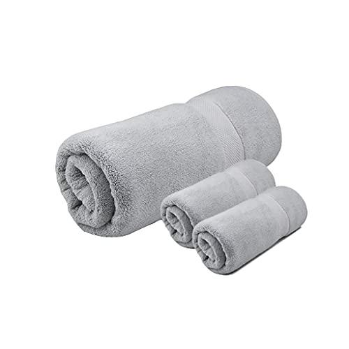 Toalla de baño Juego de 3 Piezas Toallas de baño Toallas de Ducha Toallas Toalla Suave de algodón Altamente Absorbente Sin decoloración Viajes Inicio Productos para bebés Toallas de Mano (Color: Gri