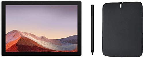 Newest Microsoft Surface Pro 7 12.3 Inch Touchscreen Tablet PC Bundle with Surface Pen and WOOV Sleeve, Intel 10th Gen Core i3, 4GB RAM, 128GB SSD, WiFi, Windows 10, Platinum (Latest Model)