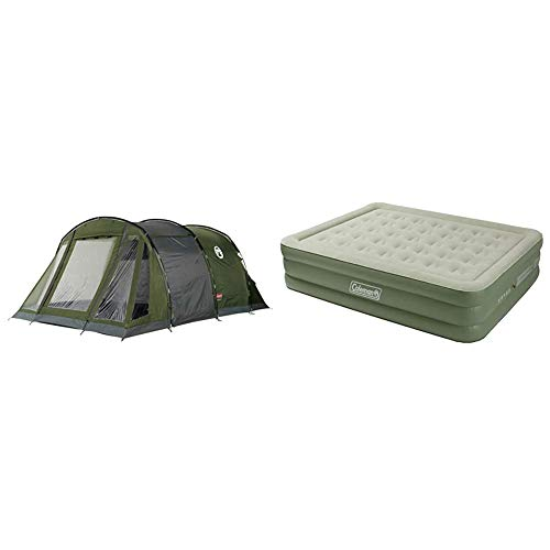Coleman Galileo 5Tent Tunnel & Airbed Maxi Comfort Bed Raised King, Camping Mat, Flocked Air Bed, Inflatable Double Height Air Mattress, Blow Up Bed, 198 x 152 x 46 cm