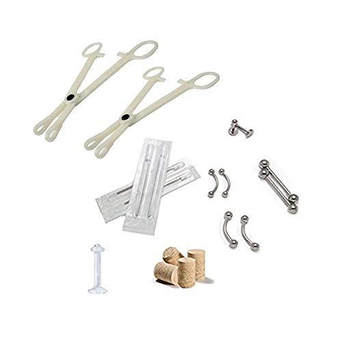 BodyJewelryonline 18pc Adultos. Body Piercing Kit de Ombligo, Lengua, pezones, Labios, Nariz 14ga y 16ga Piercing Agujas