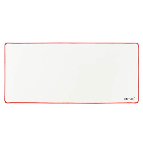 Meffort Inc Extra Large Extended XXL XXLG Gaming Desk Mat Non-Slip Rubber Pads Stitched Edges Mouse Pad 35.4 x 15.7 inch - White with Red Edges