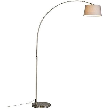 Qazqa Lampadaire | Lampe sur pied à arc Moderne - Arc-basic Lampe Gris Acier - E27 - Convient pour LED - 1 x 20 Watt