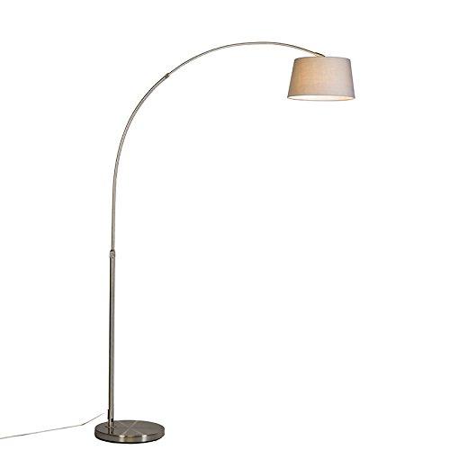 QAZQA Modern Moderne Bogenlampe Stahl/Silber/nickel matt mit grauem Stoffschirm - Arc Basic/Innenbeleuchtung/Wohnzimmerlampe Textil/Stahl Länglich LED geeignet E27 Max. 1 x 20 Watt