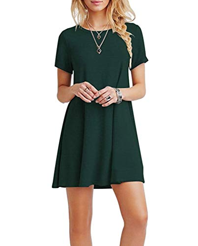 Falechay Vestidos Mujer Verano Casual de Camiseta Suelto Cuello Redondo Basico Color Sólida Multifuncional Vestido Verde Oscuro XXL