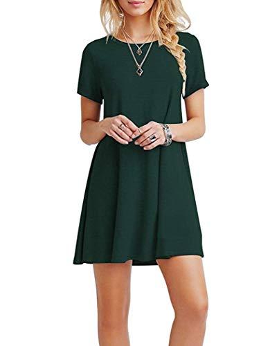 Falechay Kleid Damen Sommerkleid Tunika Freizeitkleid Atmungsaktives Rundhals Kurzarm Knielang T-Shirtkleid,Dunkelgrün,L