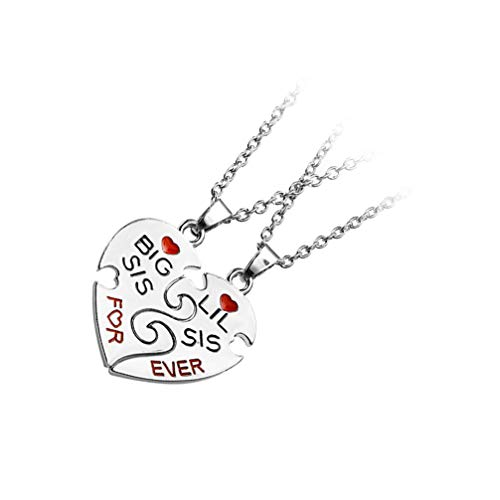WINOMO 3 Pares de Collar de Rompecabezas Hermana Pequeño Gran Corazón Corazón Roto Colgante de Cuello de Rompecabezas Hermana BFF Joyas para El Cuello para Las Mejores Amigas Collar