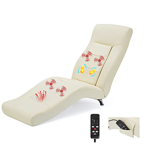 YOLENY Massage Chaise Lounge,Electric Recliner Heated Chair,Ergonomic Indoor Chair, Modern Long Lounger with 6 Position with Storage Bag,for Office or Living Room,PU&White