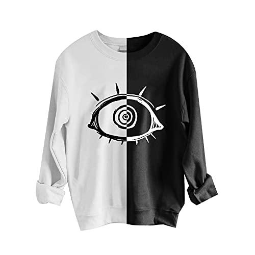Zldhxyf Moderna sudadera para mujer y niña, camiseta negra y blanca, parte superior con estampado de sol y luna, sin vientre, blanco-1, S