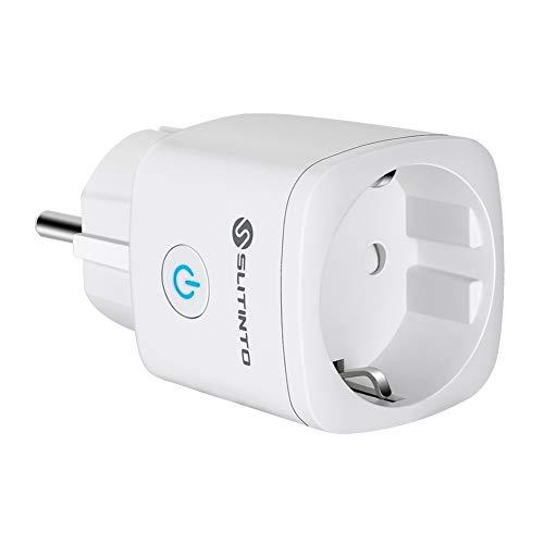 Enchufe Inteligente Wifi Compatible con Alexa Echo,Google Home y IFTTT, SLITINTO Inalámbrico Smart Mini Zócalo con Control Remoto, Establecer Horario,Monitor Energía, No necesitas de Hub,16A