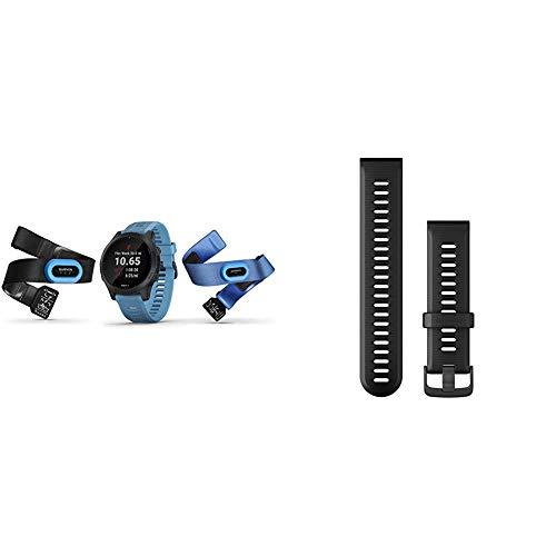 Garmin Forerunner 945 Bundle, Premium GPS Running/Triathlon Smartwatch with Music, Blue & Forerunner 945 Replacement Band - Black