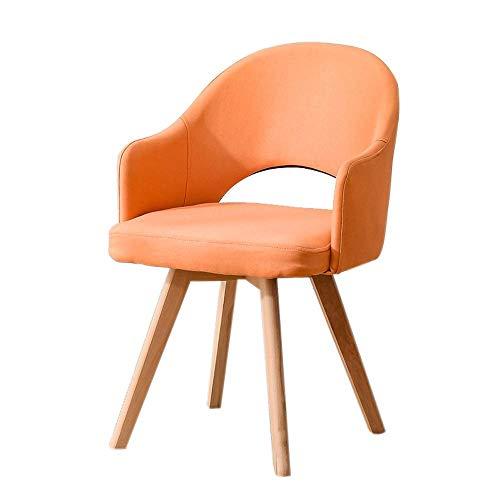 YLCJ stoel van massief hout met rugleuning, moderne bedstoel, eenvoudig en ongecompliceerd kruk thuis restaurant eetkamerstoel om een eenvoudige bureaustoel te leren (kleur: roze rood) Oranje.