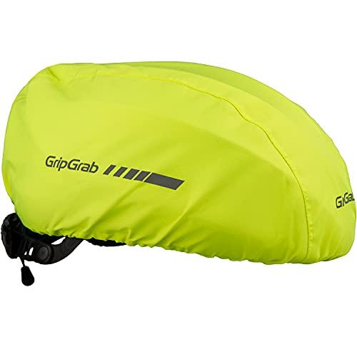 GripGrab Wasserdichter Fahrrad Regenschutz Helmüberzug Winddichte Reflektierende Haube für Fahrradhelme Gelb Hi-Vis