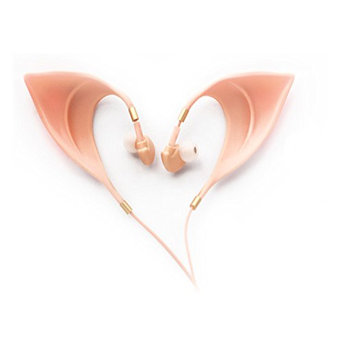 Urbun Elf Earbuds Headphones - Elegant Elves Ear Design Ultra-Soft Corded Earphone Perfect Sound Quality Fairy's Adorable Cosplay Headset Spirit Costume Accessories