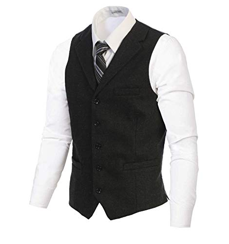 Gioberti Men's 5 Button Tailored Collar Slim Fit Formal Herringbone Tweed Suit Vest, Donegal Charcoal, Size X-Large