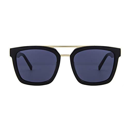 Sebasty Placa for Hombre Gafas Retro HD Gafas De Sol Polarizadas Negro Borde Grueso Lente Azul Protección UV400