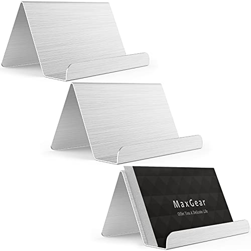 MaxGear Business Card Holder for Desk Business Card Display Holders Metal Business Cards Stand Desktop Name Card Organizer, Capacity: 50 Cards, 3 Pack, Silver, Brushed Stainless Steel