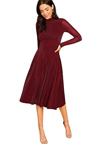 SOLY HUX Damen Midi Plissee Kleider Glanz Faltenkleid Partykleider Cocktailkleider Elegant Knielang Kleid Bordeaux L