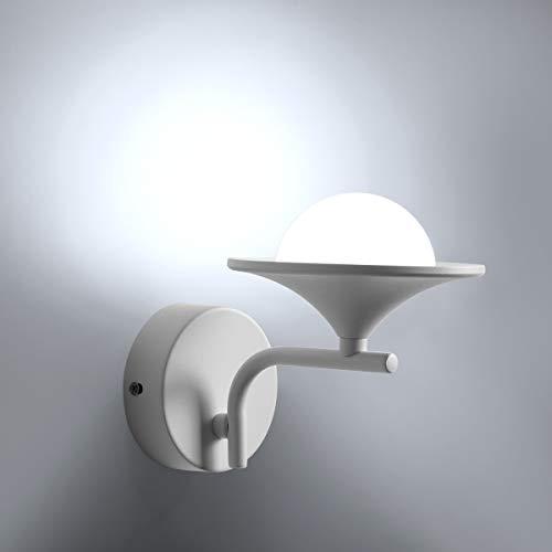 HAWEE Creativo Moderno LED Lámpara de Pared Interior Apliques de Pared LED Luz de Pared Minimalista Decoración de Hierro Forjado para Dormitorio, Sala, Pasillo, Escaleras, Café, 6000K Blanco