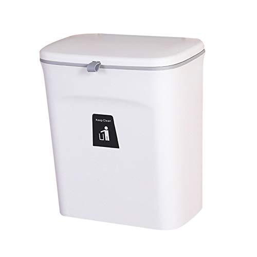 Cubo de basura colgante Lynn para armario de cocina, puerta con tapa montada en la pared, contador de basura de plástico