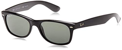Ray-Ban RB2132 New Wayfarer Sunglasses, Black/Polarized Green, 52 mm