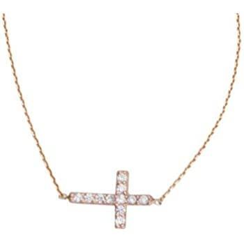 18 Inch 925 Sterling Silver Gold-Flashed Side-ways Adjustable Mini Cubic Zirconia Cross Necklace