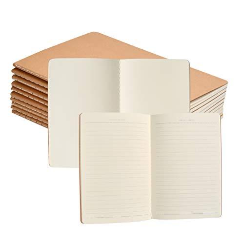FOCCTS 10pcs A5 Cuadernos de Cubierta de papel Kraft 38 Hojas de 5 Espacios en Blanco y 5 Líneas Horizontales para Notas, Borradores, Dibujos (21*14cm)