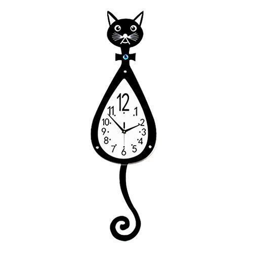 FENG-XIANG-HANG Uhr Kätzchen Wanduhr, Wohnzimmer Schlafzimmer Cartoon Stumm Uhr Arabisch Digital Familie Wanduhr Schaukel Wanduhr
