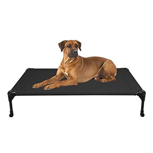 Veehoo Cooling Elevated Dog Bed - Portable Raised Pet Cot with Washable & Breathable Mesh, No-Slip Rubber Feet for Indoor & Outdoor Use, Oversize Package, Large, Black