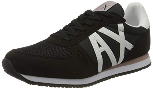 Armani Exchange Damen Sneaker, Schwarz (Black+White A120), 39 EU
