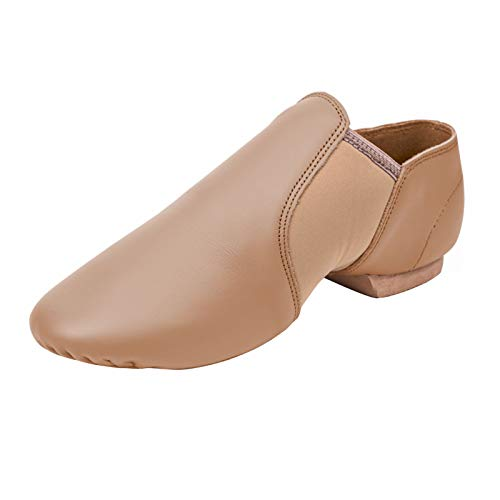 STELLE Leather Jazz Slip-On Dance Shoes for Adult Women(Tan, 8.5MW)