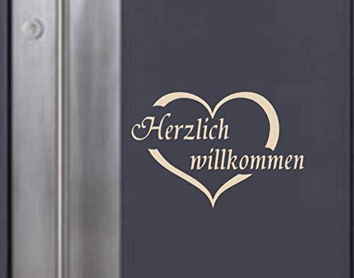 Generic Herzlich willkommen Aufkleber für Ihre Haustüre 13x20cm (184/2) (weiß Glanz)