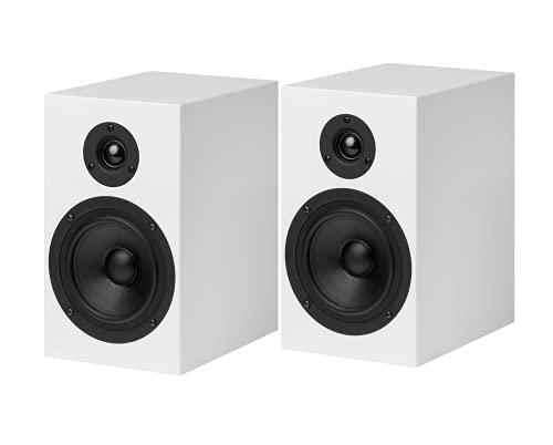 Pro-Ject Speaker Box 5, 2-Wege Regallautsprecher mit audiophiler Bassreflex-Abstimmung, Pianolack (Weiß)