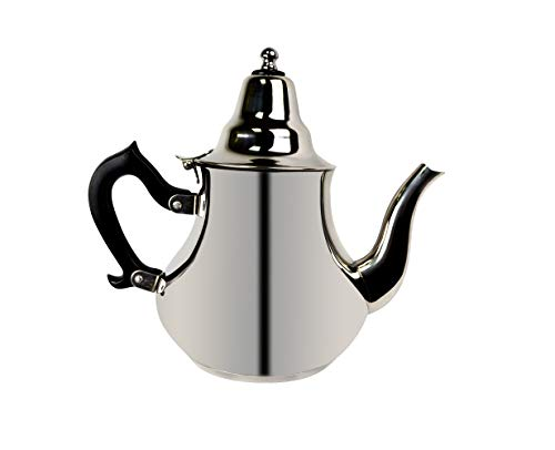 Orientalische Teekanne marokkanische arabisch mit Induktion - aus Edelstahl mit Deckel Teefilter Schnabel mit Griffe als Kaffekanne für alle Herdarten geeignet. (2,0 Liter)