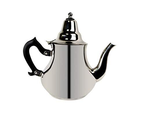 Orientalische Teekanne marokkanische arabisch mit Induktion - aus Edelstahl mit Deckel Teefilter Schnabel mit Griffe als Kaffekanne für alle Herdarten geeignet. (1,5 Liter)