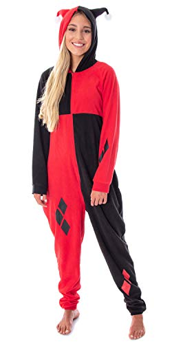 DC Comics Women's Harley Quinn Costume One-Piece Union Suit Cosplay Pajama Outfit (2X/3X)