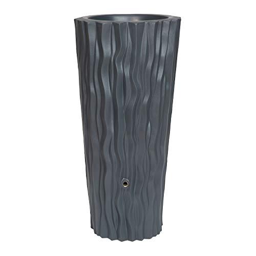 Regentonne anthrazit Regenwassertank Alana 160 Liter aus UV- und witterungsbeständigem Material. Regenwassertonne mit integrierter Pflanzschale und hochwertigen Messinganschlüssen