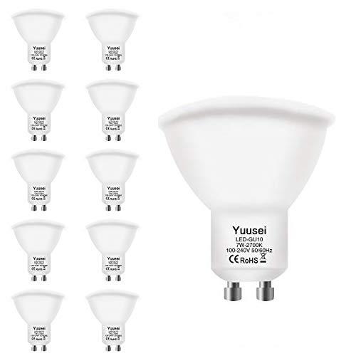 Yuusei Bombillas LED GU10 7W, 2700K 600LM Blanco Cálido LED Spot Luz Lámpara Foco, Equivalente 60W Luz Halógena, Ángulo Haz 120º, No Regulable, 10 Piezas