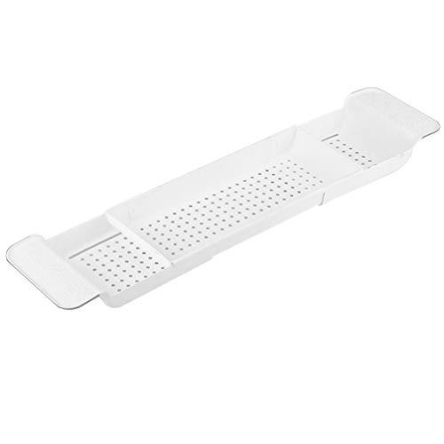 BESTonZON Kunststoff Badewanne Caddy Tablett Bad Caddy Organizer Erweiterbare Duschbad Serviertablett für Telefonbuch Glas (Weiß)