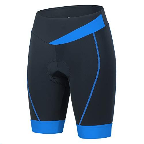 BEROY Cuissard de cyclisme rembourré à séchage rapide pour femme - Short de cyclisme respirant avec rembourrage en gel 3D - Bleu - Taille M