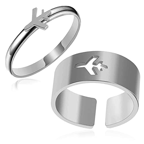 MYLYAHY 2PCS Matching Couples Rings Set,Gold Plated Stainless Steel Plane Promise Friendship Bestie Rings for Couple Best Friends (C)
