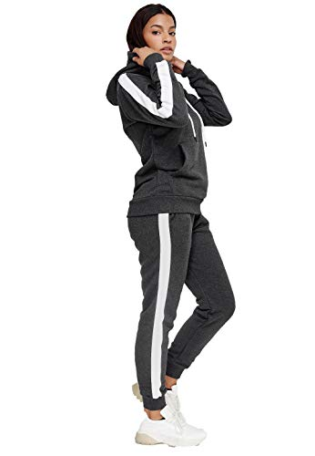 John Kayna Damen Trainingsanzug | Jogginganzug | Sportanzug | Jogging Anzug | Hoodie-Sporthose | Jogging-Anzug | Trainings-Anzug | Jogging-Hose | Modell JG-1571-JK (Anthrazit, XXL)