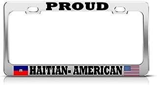 Dwi24isty Metal Auto License Plate Frame Car Tag Holder Proud Haitian American Chrome License Plate Frame Haiti Flag Pride Auto SUV Tag Perfect for Men Women Car Garadge Decor